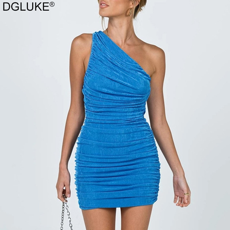 Sexy One Shoulder Mini Dress Summer Blue Orange Short Party Dress Women Sleeveless Ruched Bodycon Dr