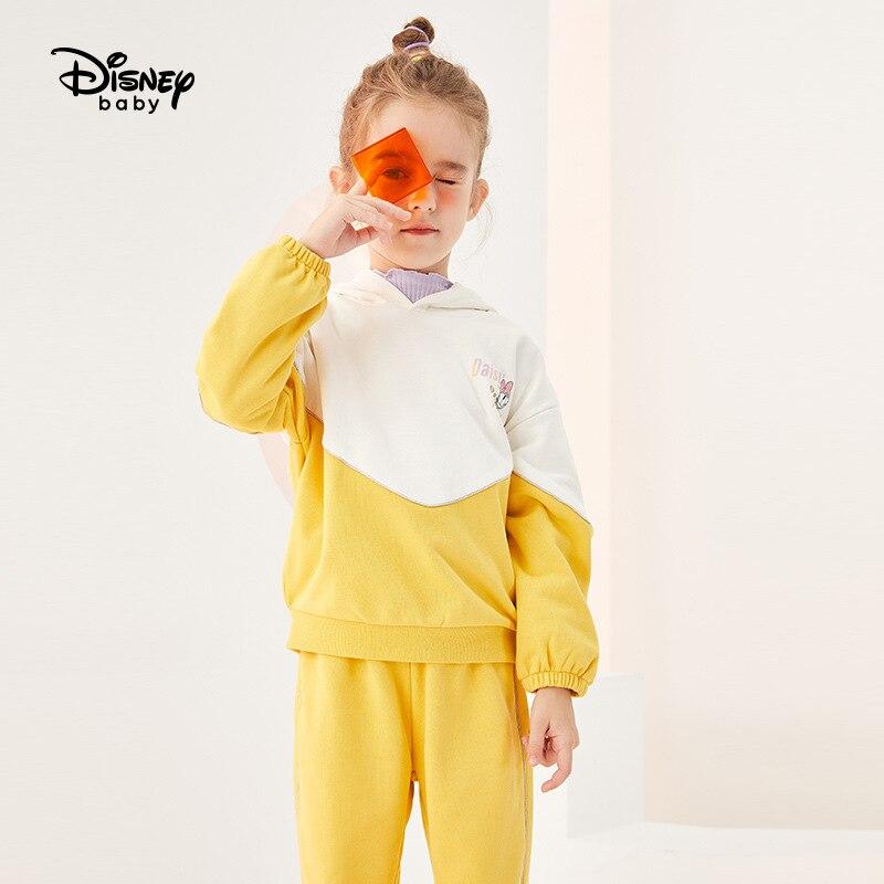 Conjunto de suéter y pantalones originales para niñas de Disney, Sudadera con capucha a la moda de primavera y otoño, mono informal para niños con contraste de colores db031te01