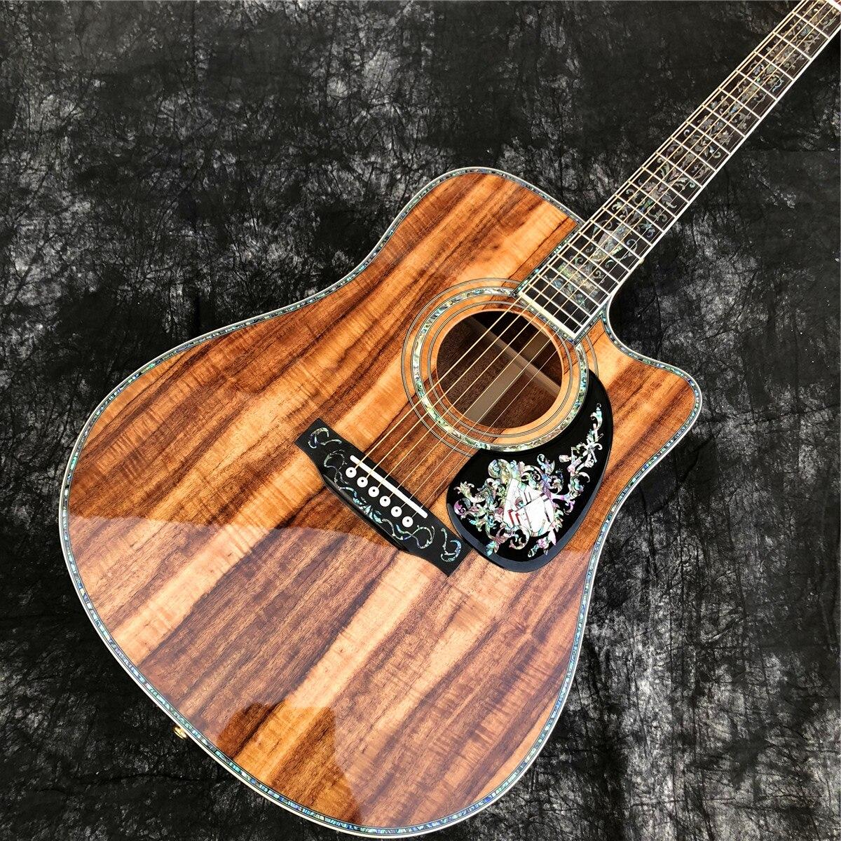 Cutaway 41 Inch D Stijl Koa Hout Akoestische Gitaar Alalone Ebbenhouten Toets Professionele Effen Guitarra