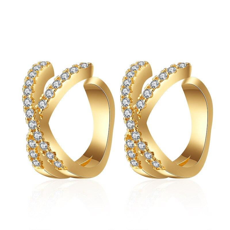 Trendy Cubic Zirconia Two Color Ear Cuff Earrings X-shaped Cross Wedding Clip Earrings For Women Fashion Jewelry Pendientes 2020