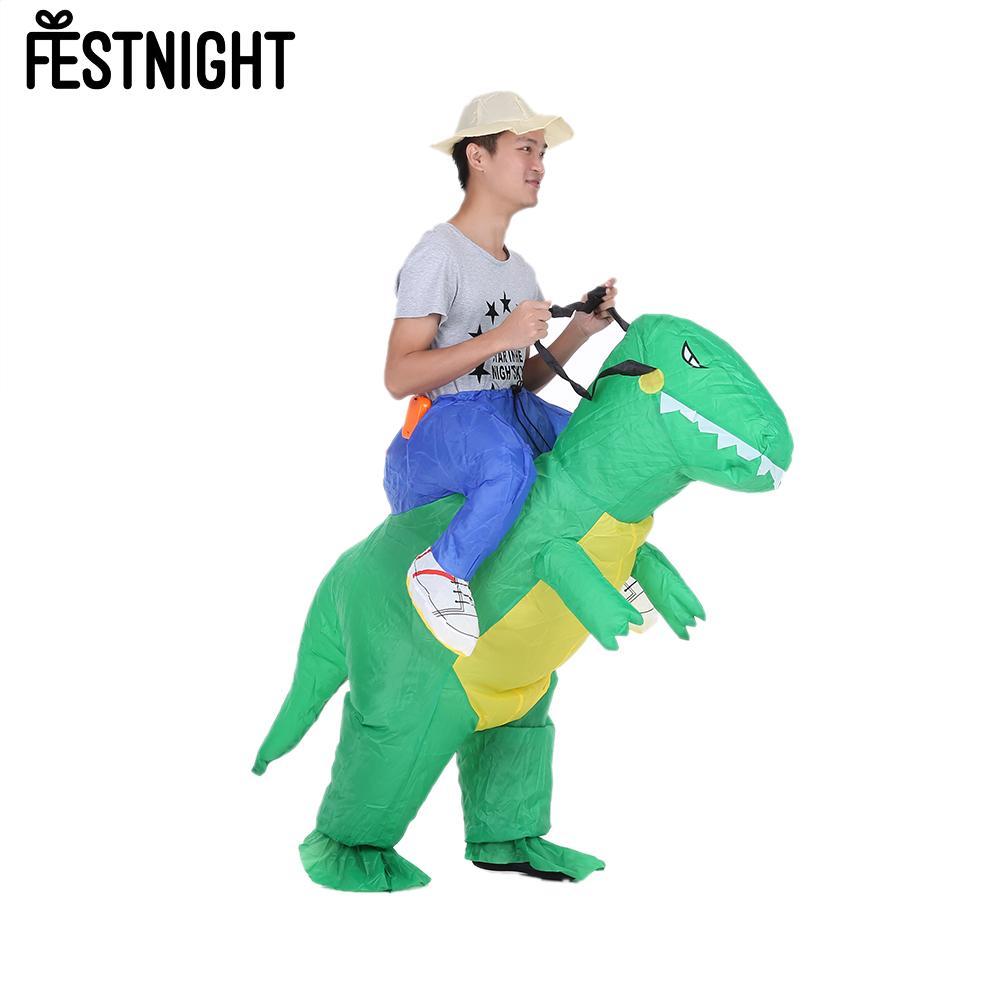 Traje inflável adulto bonito do dinossauro terno ventilador de ar operado andando vestido extravagante roupa de festa t-rex traje animal inflável