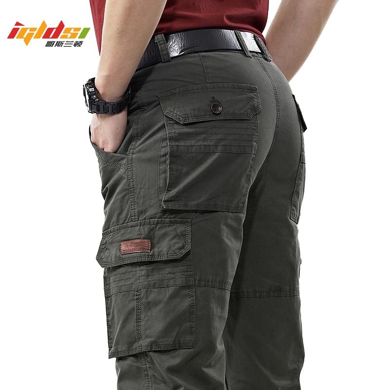 الرجال وزرة الجيش العسكرية البضائع السراويل الربيع القطن فضفاض الدنيم السراويل الذكور متعددة جيوب بنطلون طويل غير رسمي حجم كبير 42