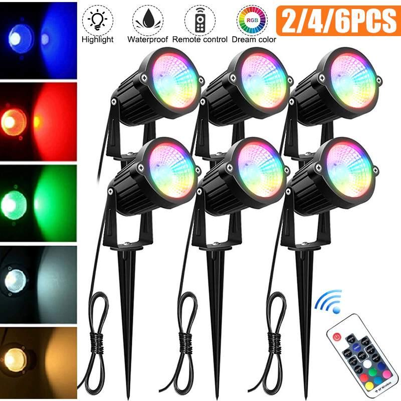 مصباح إضاءة حديقة COB, بقدرة 3 وات RGB خارجي مصابيح مضادة للماء إضاءة LED للحديقة مع كشافات أضواء كاشفة 220 فولت تيار متناوب ، 12 فولت تيار ثابت