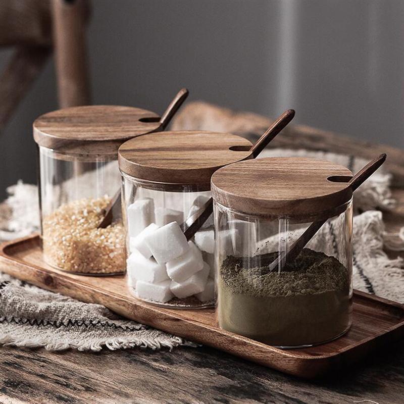 Kitchen Seasoning Jar Glass Spice Container Salt Jars Condiment Pot With Lid And Spoon Kitchen Storage Jar 1pc