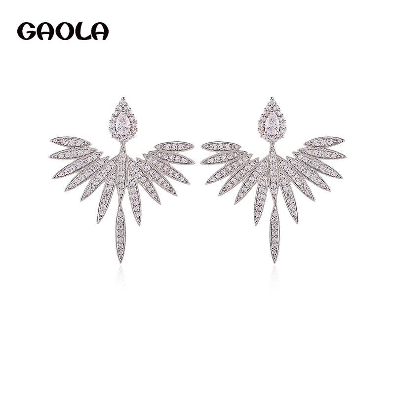 GAOLA nouveau Design classique zircon cubique géométrique plume boucles doreilles pour les femmes GLE7841