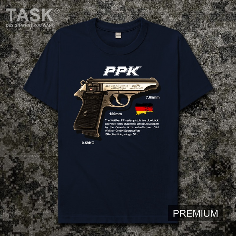 Pistola serie PPK Walter Alemania militar fan juego CSGO arma militar impresión militar manga corta cuello redondo Camiseta hombres ropa