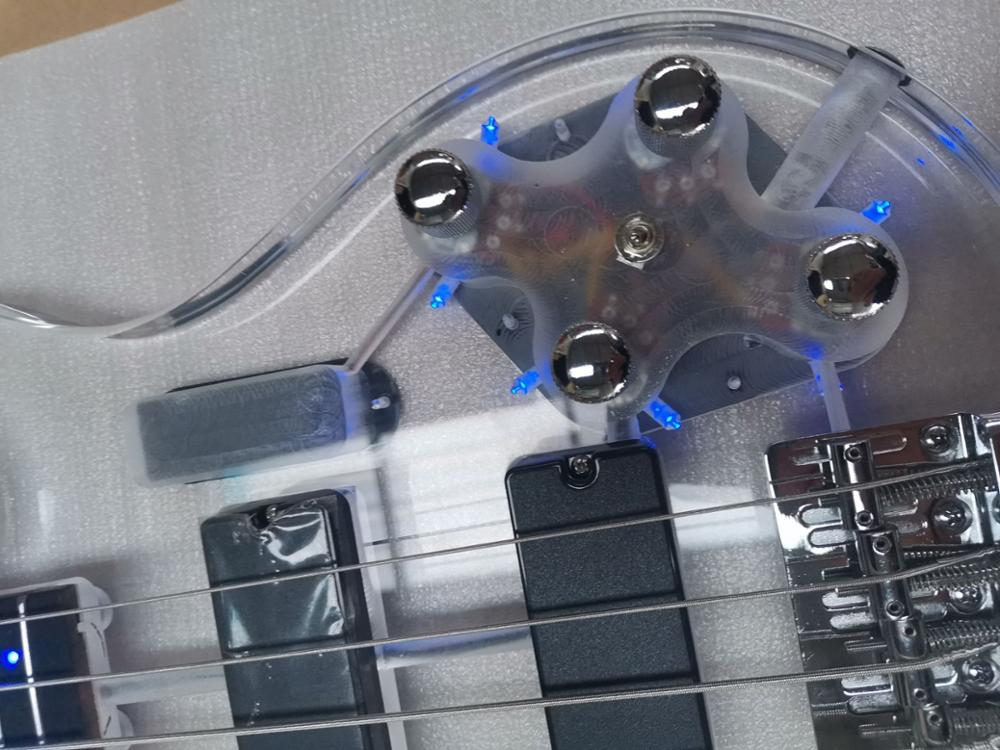 good quality acrylic body electric bass guitar with blue light in free shiping enlarge