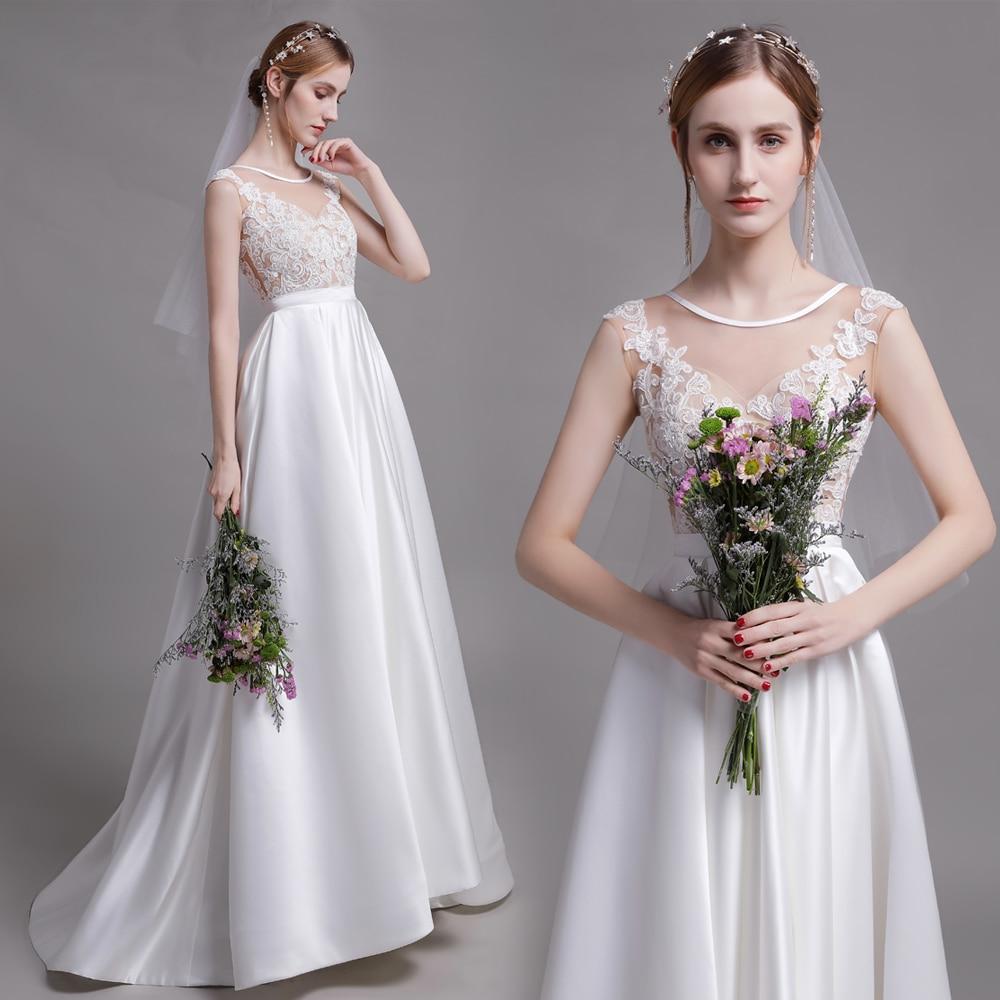 Vestidos de boda de playa 2020, falda de satén de Corpiño de encaje nupcial de Eva Lendel, vestido de novia con escote de joya