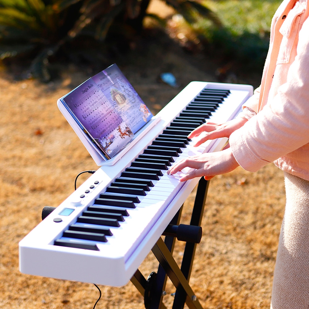 M MBAT Portable Electronic Organ 88 Keys Electronic Piano Keyboard MIDI Output Rechargeable Battery with Sustain Pedal Piano Bag enlarge