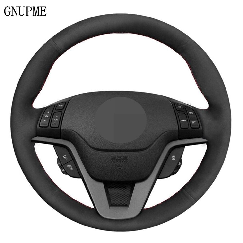 Protector para volante de coche DIY de gamuza de cuero genuino negro de punto para Honda CRV CR-V 2007 2008 2009 2010 2011