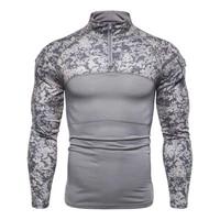 men t shirt camouflage fashion tight stand collar combat shirt for autumn men t shirt