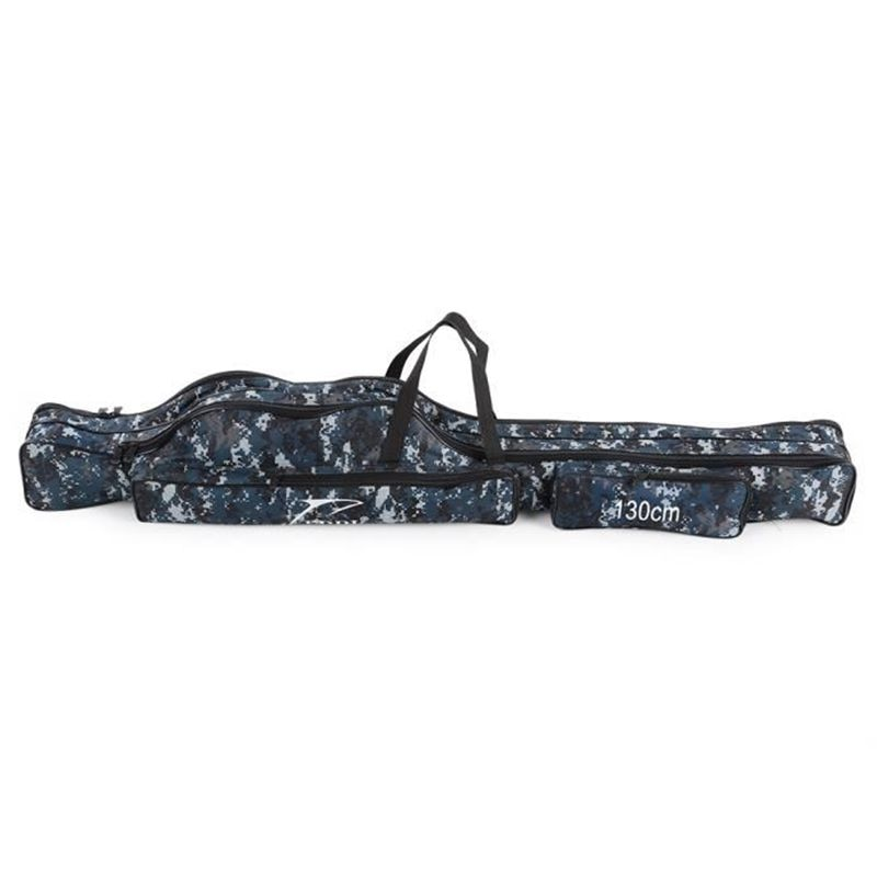 Bolsa de almacenamiento de pesca portátil, bolsa de lona plegable portátil para herramientas, bolsa de equipo para aparejos de caña mezclados, dos capas, 130cm