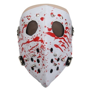 Full Face Printing Stud Eyelets Mask For Cosplay Death Rock Party Outdoor Motorcycle Bar Punk Halloween Stage Show