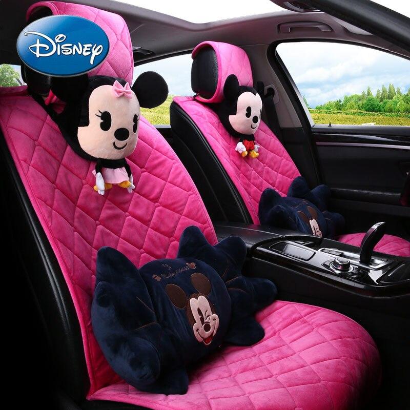 Disney Mickey Mouse Minnie Car Headrest Neck Pillow Pair of Cartoon Cute Car Pillow Car Waist Pad Set enlarge