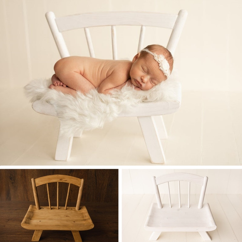 Newborn Photography Props Detachable Vintage Wood Chair Baby Photo Shoot Accessories Furniture Boy Girl Retro Bed Background