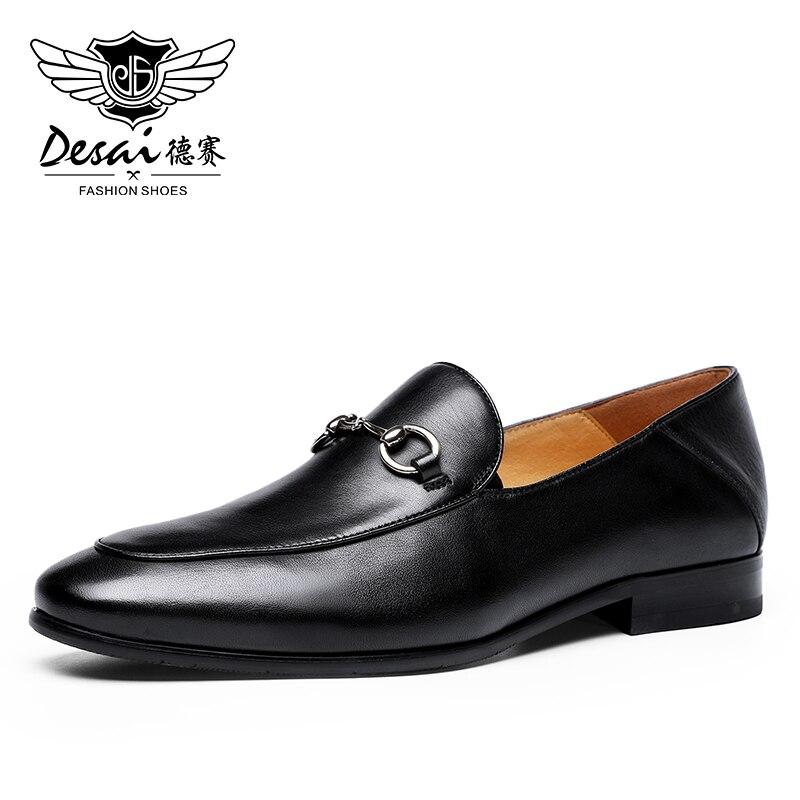 DESAI Lofers-أحذية جلدية فاخرة بدون أربطة للرجال ، أحذية رياضية للقيادة ، نعل مسطح غير رسمي ، أسود إيطالي