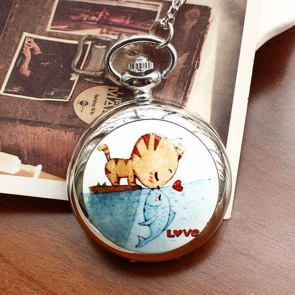 Fashion Style Men and Women Pocket Watch Quartz Stainless Steel Pocket Watch Fashion Cat Love Fish Ceramic Rattan Pocket Watch