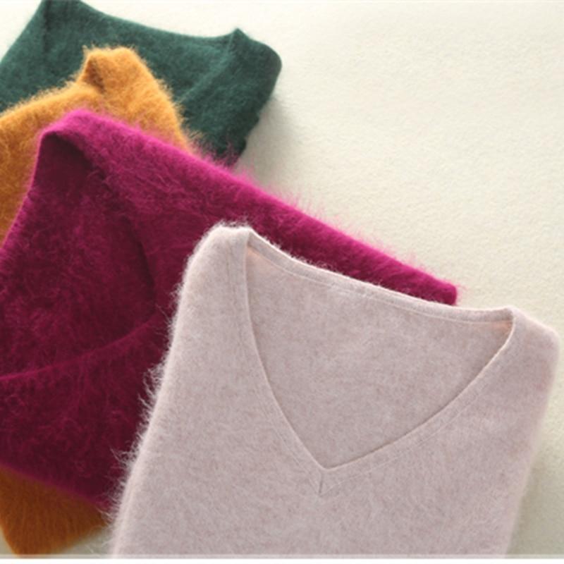 الشتاء النساء سترة الخامس الرقبة بلوفر مغزول 100% المنك الكشمير البلوز الإناث بلون لينة سوبر معطف شتاء S-2XL 16 لون