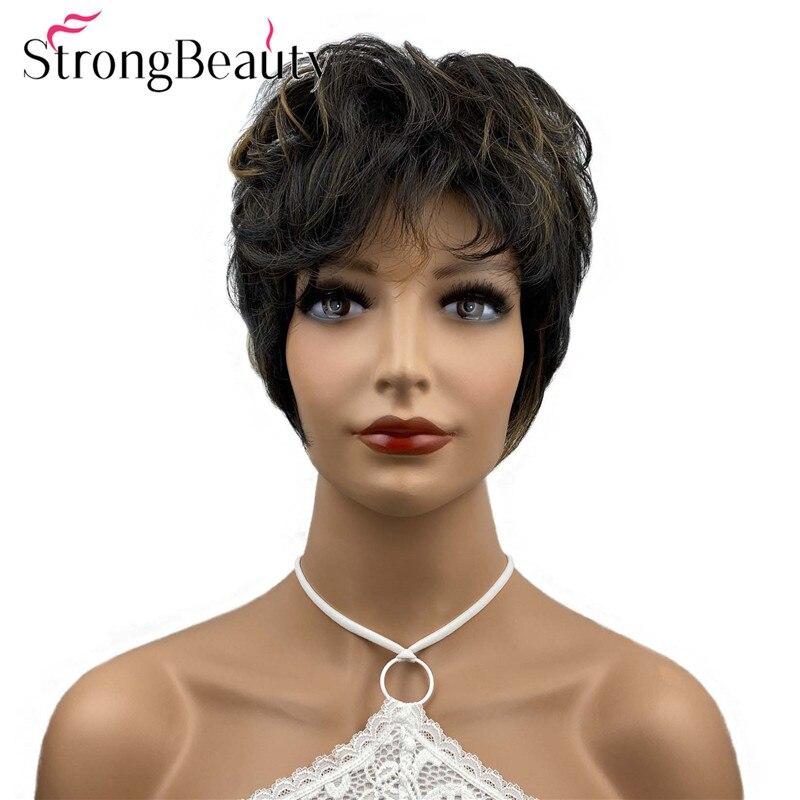 StrongBeauty Short Wavy Wigs Highlight Strawberry Blonde Wig Women Synthetic Hair Heat Ok