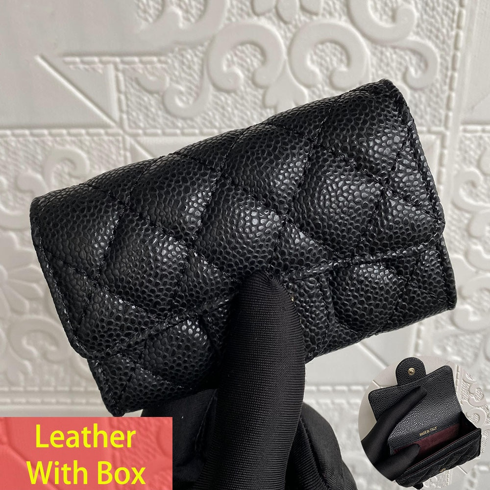 Luxury Brand High Quality Leather Women's Coin Purse Caviar Credit Card Holder Short Buckle Flap Wallet Sheepskin Card Case
