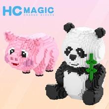 Pequeño juguete de bloques de construcción rompecabezas creativo juguete de hechizo pelo de cerdo Rosa tesoro nacional gatito Panda bloque de construcción de diamante 1018