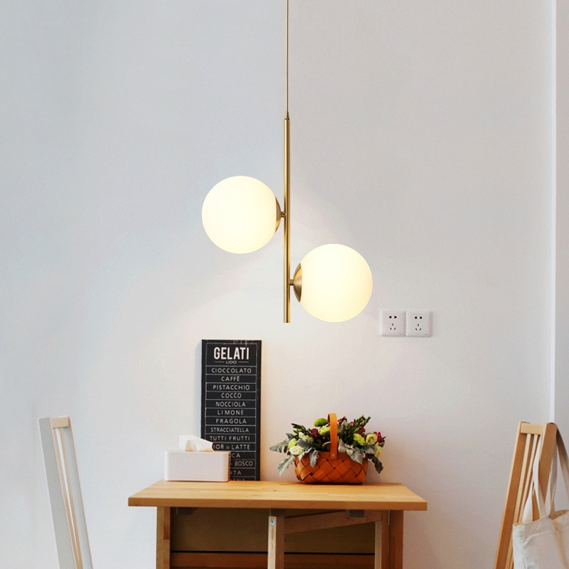 منتصف القرن الحديثة قلادة ضوء التصميم الكلاسيكي مصابيح تعليق للزينة تركيبة إضاءة الشمال ديكور المنزل داخلي كرة زجاجية led مصباح