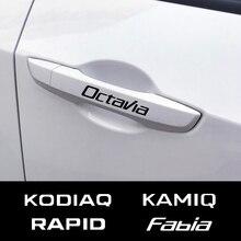 4 Uds Auo puerta adhesivo de manija del coche para Skoda Octavia 2 A7 A5 VRS Fabia 3 rápido Superb 3 Kodiaq Scala Karoq Kamiq Accesorios