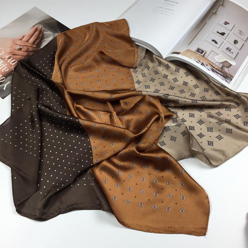 Elegant Silk Satin Hair Scarf For Women Fashion Kerchief Print Bandana Head Scarfs 70*70cm Small Shawls Neck Scarves Ladies