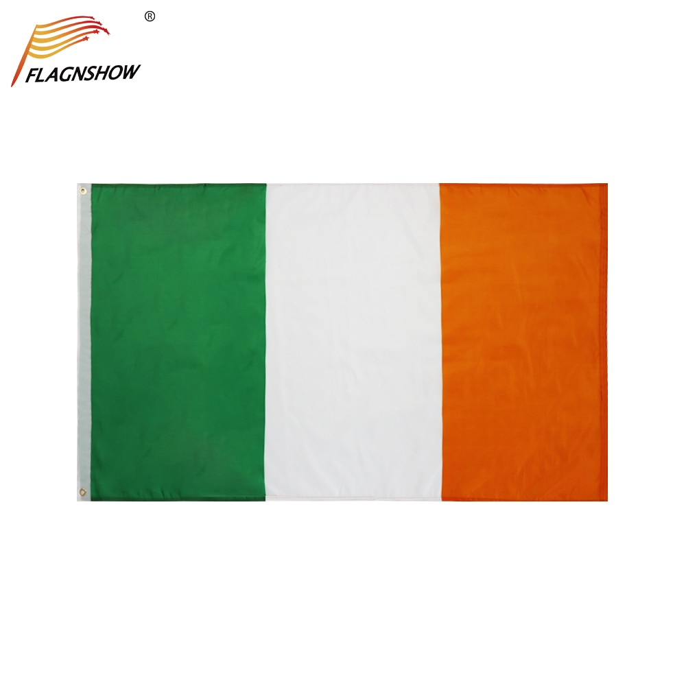 Flagnshow Ireland Flag One Piece 3X5 FT Triple Stitching Hanging Irish National Flags Polyester Indoor Outdoor for Decoration 3ftx5ft guinness ireland irish flag sign