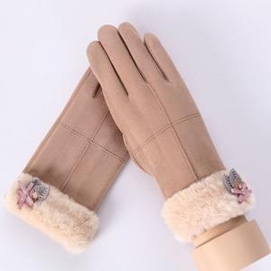 Модные женские теплые перчатки, зимние однотонные перчатки с закрытыми пальцами для спорта на открытом воздухе и вождения, женские теплые перчатки из искусственной замши для сенсорных экранов