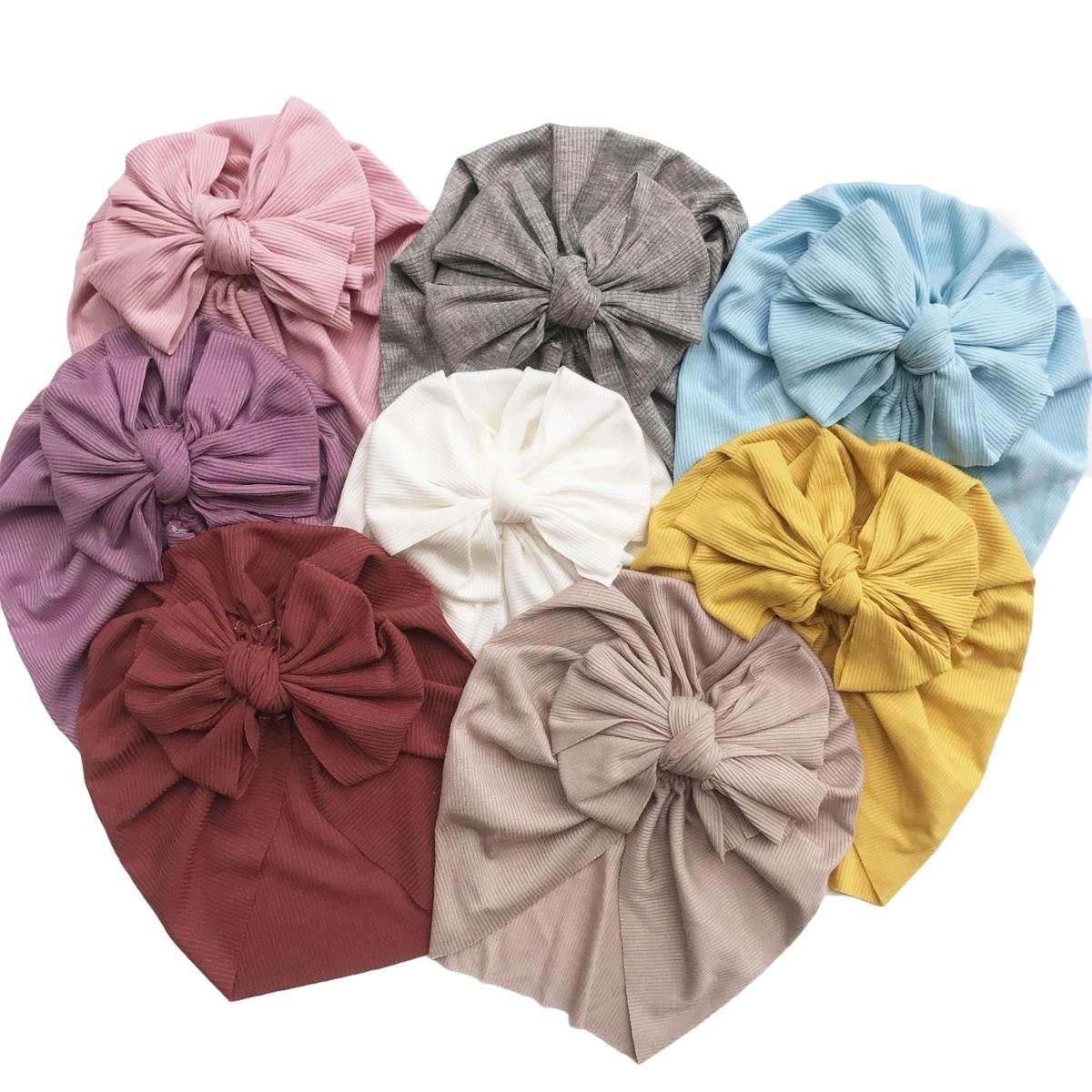 Pudcoco 2020, sombrero indio con lazo para bebé, turbante de cinta de algodón tejido, gorro con nudo, sombreros de Color liso para niños, accesorios 1-6 y
