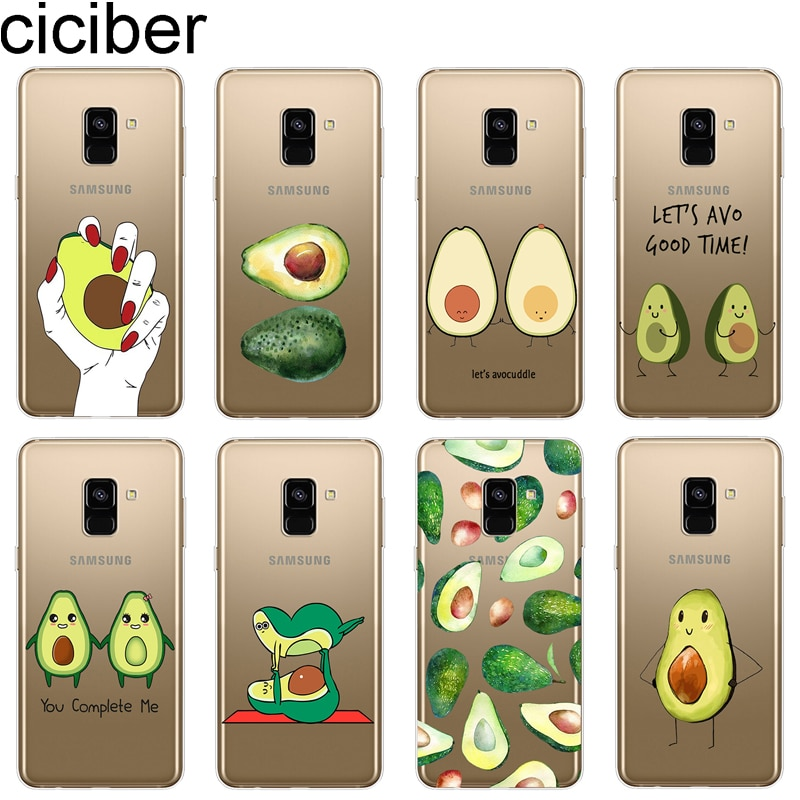 Ciciber fruta de aguacate caso de teléfono para Samsung A7 A5 A6 A8 A9 A3 2018 de 2017 de 2016 estrellas funda para Galaxy C7 C5 C9 PRO suave TPU Capa