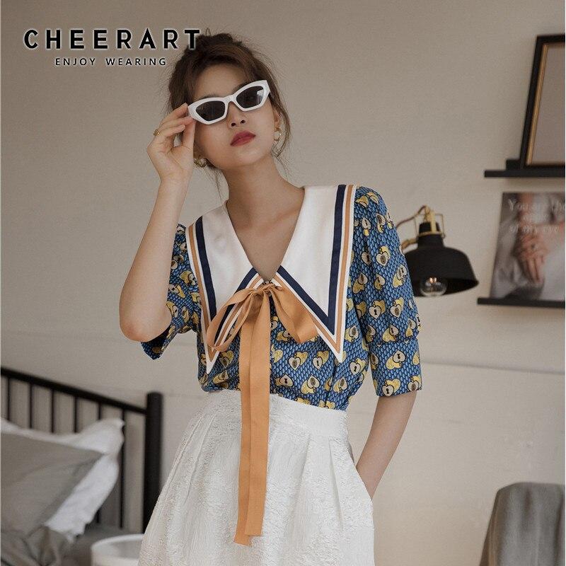Cheerart vintage blusa feminina verão topo solto arco gola grande designer senhoras gravata frente topo coreano roupas de moda 2020