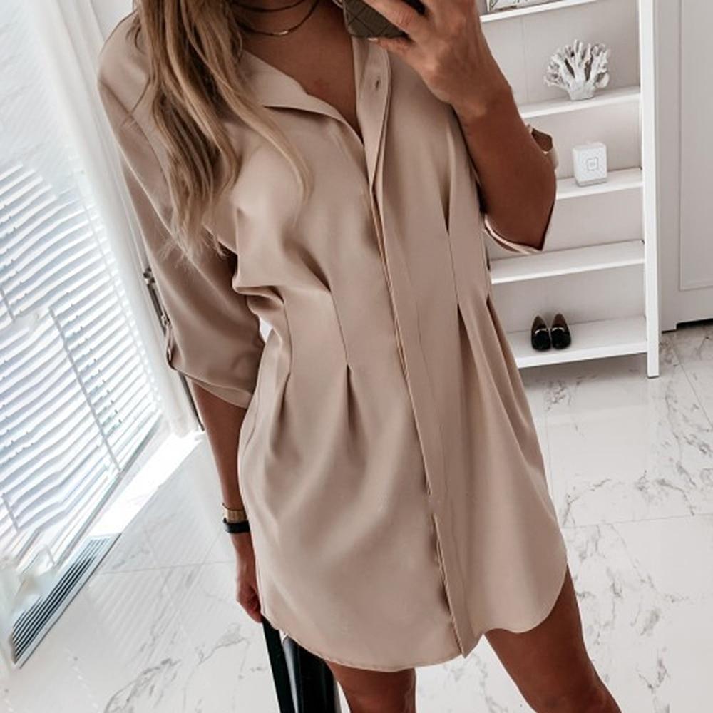 Xhkld escritório senhora camisa verão feminino vestido de manga longa sexy mini vestido túnica mujer vestidos casuais streetwear camisa vestido