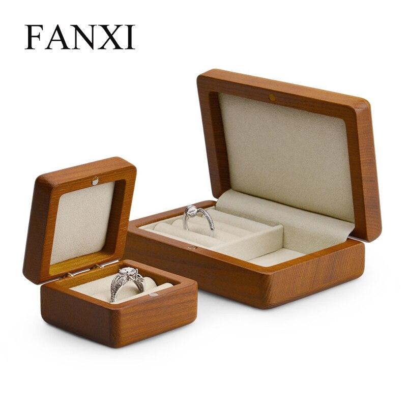 Fanxi Schmuck Display Holz Ring Organizer Fall Ohrring Display Box Reise schmuck Fall Lagerung Schaufenster