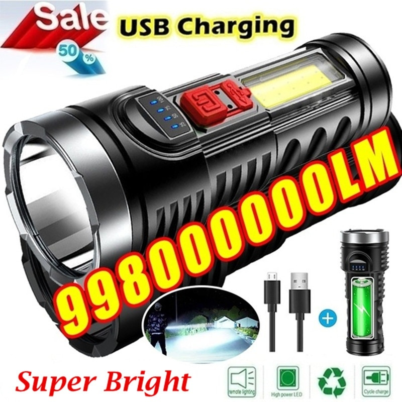 Outdoor LED Torch Rechargeable IPX4 Waterproof Torches Super Bright Powerful 998000000 Lumens 4 Core Chips Zoomable Flashlight