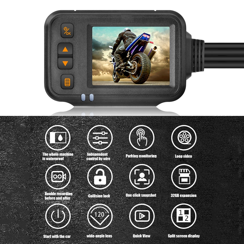 2-дюймовый водонепроницаемый мотоциклетный видеорегистратор HD 1080P, видеорегистратор, видеорегистратор для вождения, двухканальный видеоре...