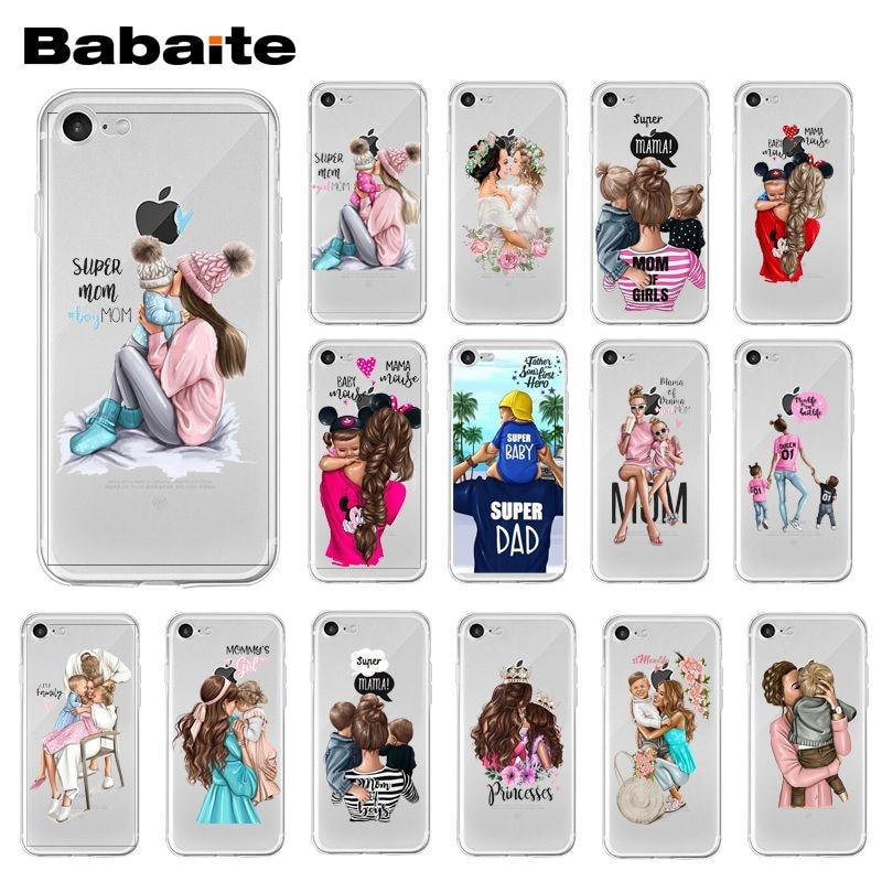 Babaite de moda negro marrón pelo bebé mamá hija hijo niña papá iPhone 7 para iPhone XR 11 Pro Max XS MAX 8 7 6 6S Plus X 5S SE