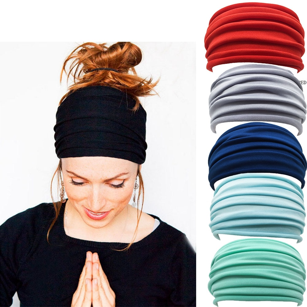 13 Colors Nonslip Elastic Folds Yoga Hairband Fashion Wide Sports Headband Running Accessories Summer Stretch Hair Band