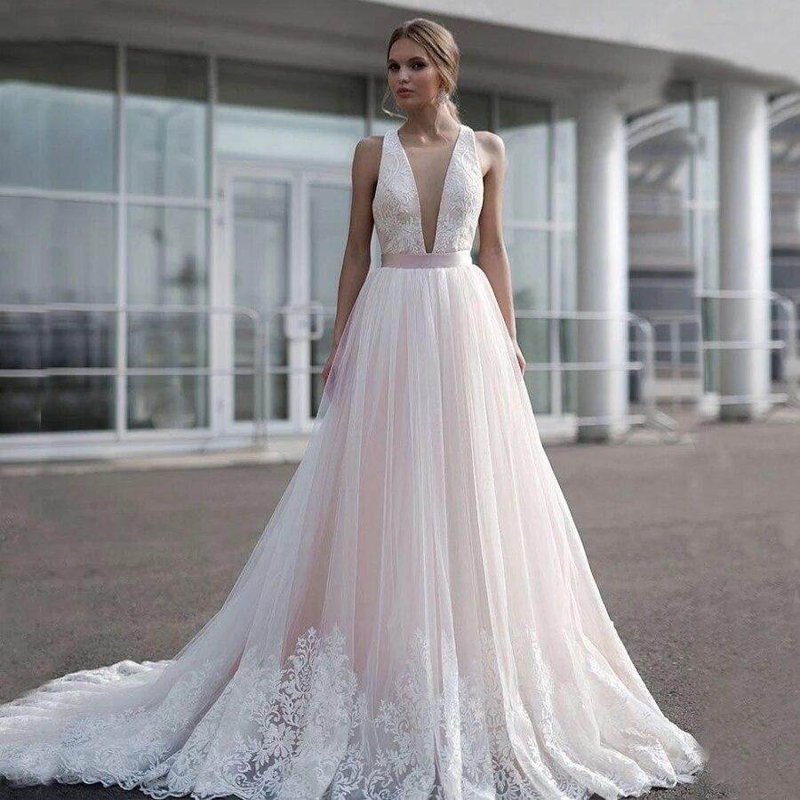 Vestido de boda con escote en V profundo, aplique de encaje nupcial...