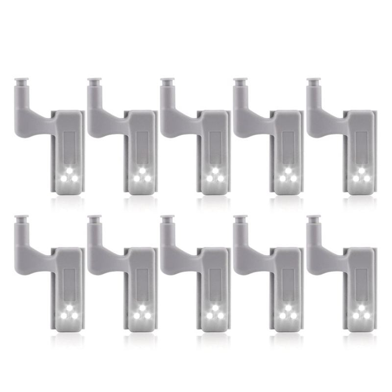 10 Uds armario LED bisagra luz inteligente Sensor lámpara blanco cálido