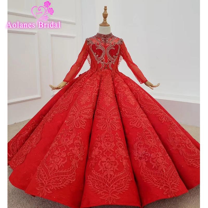 فستان الكرة الأحمر للفتيات ، لحفلات الزفاف ، والحفلات ، والتول ، والدانتيل ، والتواصل الأول