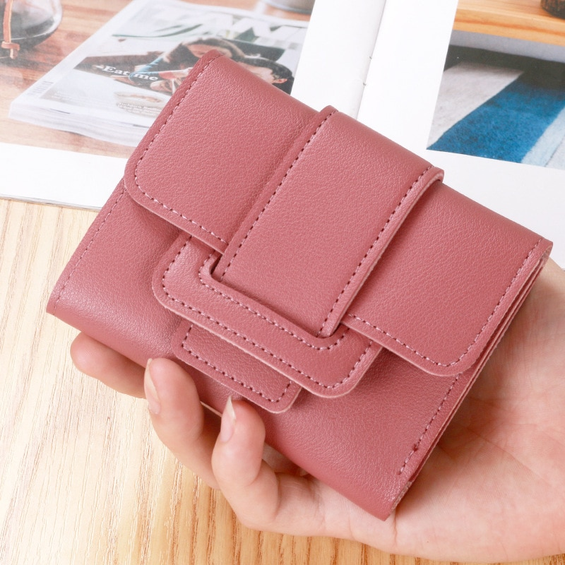 AliExpress - Women Wallets Bag Small Short Fashion Brand PU Leather Purse Card Bags For Ladies Female 2021 Mini Coin Clutch Money Clip Wallet