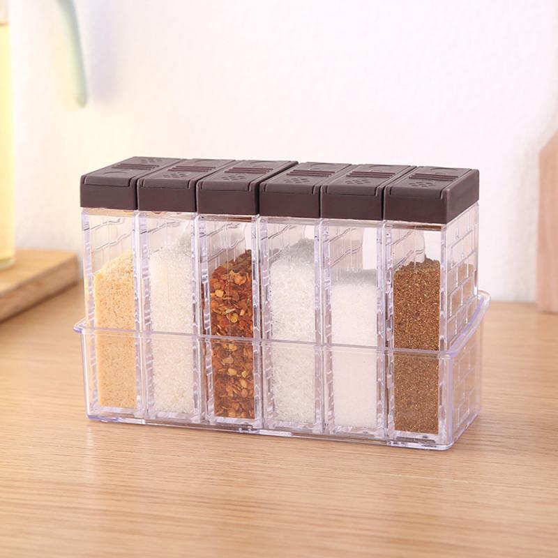 6 قطعة/المجموعة المطبخ برطمان توابل صندوق توابل رف توابل التوابل زجاجة تخزين الجرار شفافة PP الملح الفلفل كمون ناعم مربع أداة