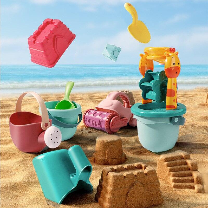 Детские пляжные игрушки, набор из 19 предметов, детский летний песочный инструмент для копания с лопатой, водная игра, набор уличных игрушек, ...
