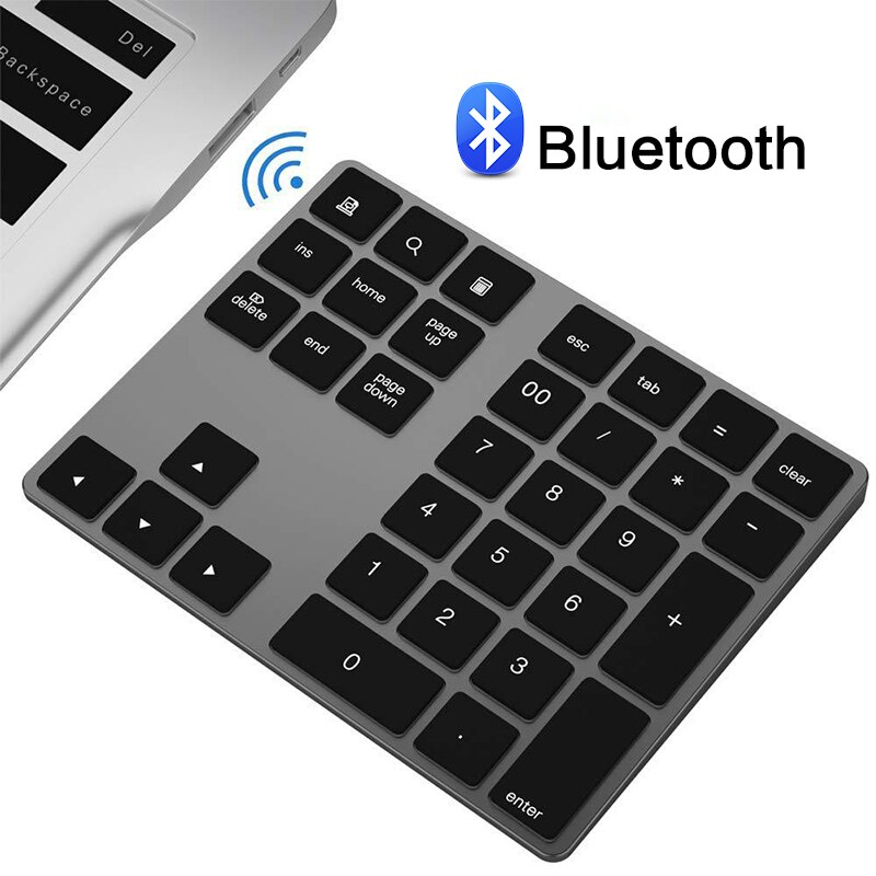 Teclado Bluetooth inalámbrico con 34 teclas, teclado numérico Mini con teclas de función, teclado Digital para Windows PC Macbook iPad