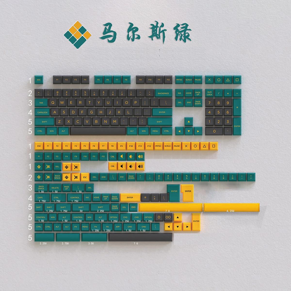 Keypro المريخ الأخضر موضوع OSA مزدوجة النار ABS Keycap 226 مفاتيح مجموعة ل USB السلكية الميكانيكية لوحة المفاتيح الكرز MX التبديل أغطية المفاتيح