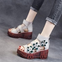 women sandals 2021 thick bottom female high heels flowers beach shoes wedge non slip heeled shoe pumps 7cm woman summer footwear