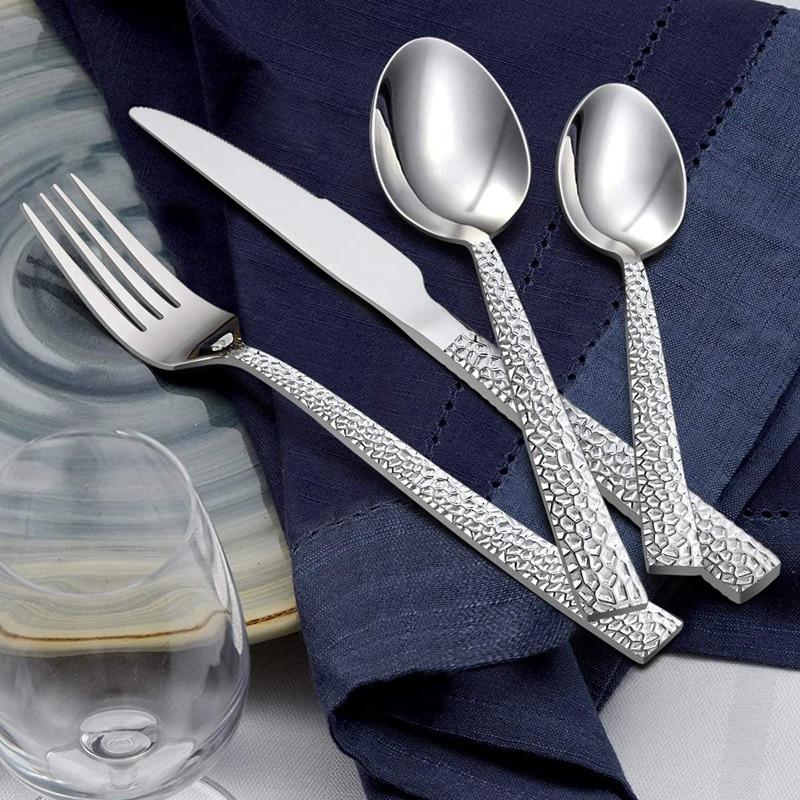 16 قطع سكين شوكة ملعقة مجموعة أدوات المائدة ، الفولاذ المقاوم للصدأ مطروق أدوات المائدة أدوات المائدة للمنزل/مكتب/حفلة/التخييم ، الفضة