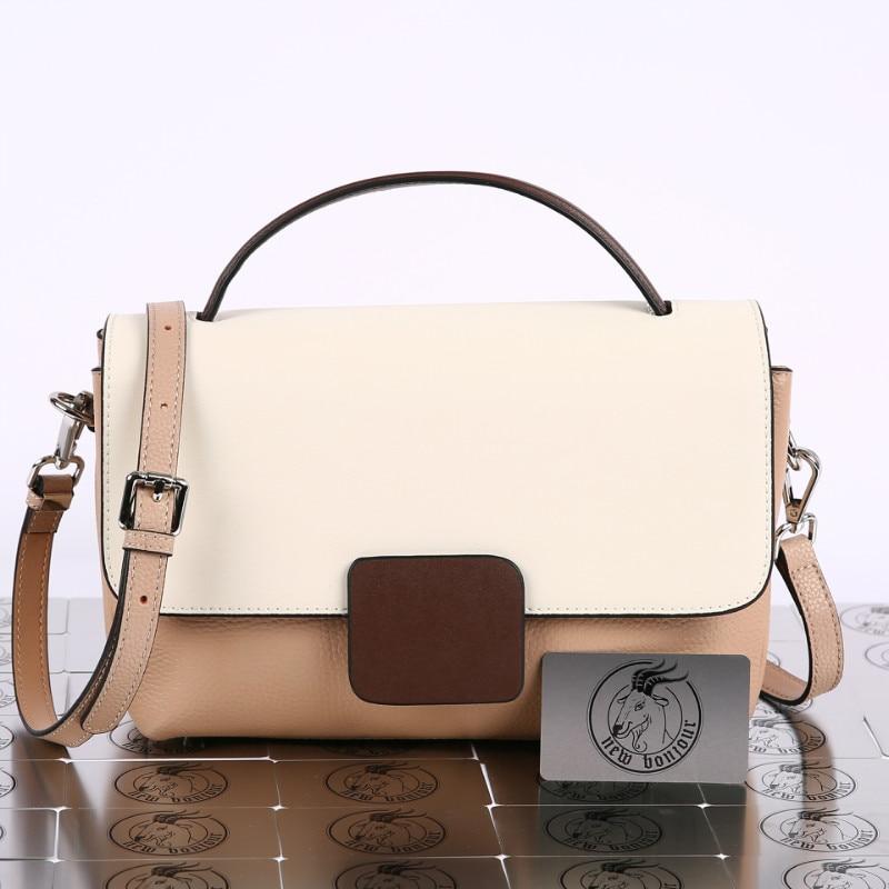 Natural Cowhide Leather Panelled Messenger Bag Large Capacity Shoulder Bag For Women 2020 New Arrival Fashion Handbag